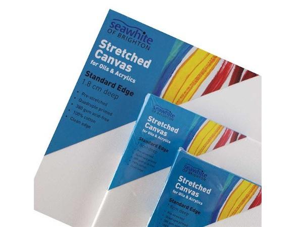 Seawhite 1.8cm standard edge stretched primed cotton canvas